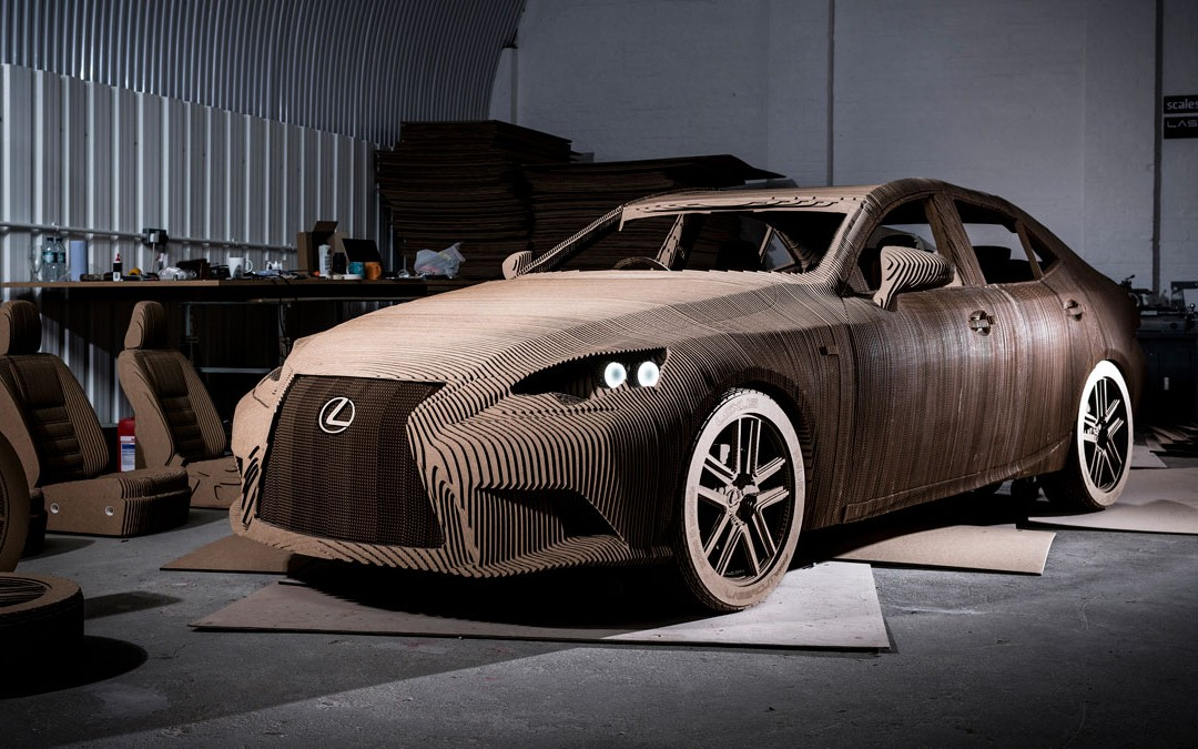 LEXUS and lasercut works craft hand-assembled drivable cardboard car